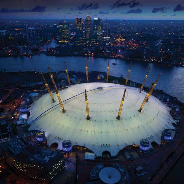 o2 arena night aerial